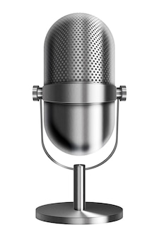 Vintage metal silver microphone isolated on white background.