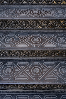 Vintage metallic ornate stairs. backgrounds and textures