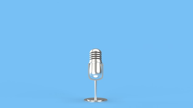 Vintage mic 3d rendering for podcast  content.