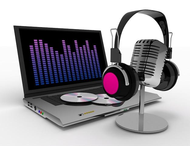 Винтажный микрофон и наушники. 3d визуализированная иллюстрация