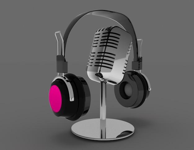 Винтажный микрофон и наушники. 3d визуализации illustrationv