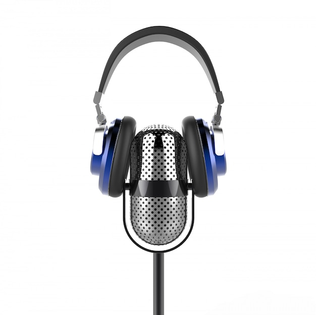 Старинный микрофон с современными наушниками