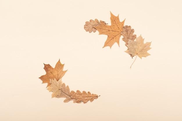 ヴィンテージモックアップ、ボーダーはアレンジメントの背景を残します。秋のフラットレイ。秋のシーズンのコンセプト。感謝祭のフラットレイ構成。