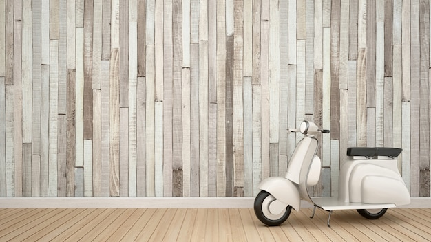 작품에 대 한 빈 방에 빈티지 오토바이