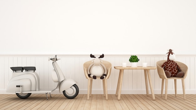Vintage motorcycle with giraffe doll  and reindeer doll in dining room - 3d rendering