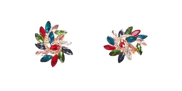 Vintage multicolour brooch on white background. fashionable chic elegant accessory