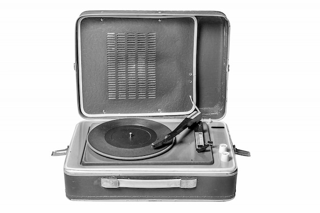Vintage music player turntable on white