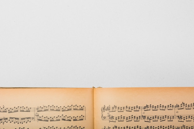 白い背景にヴィンテージの音符の本