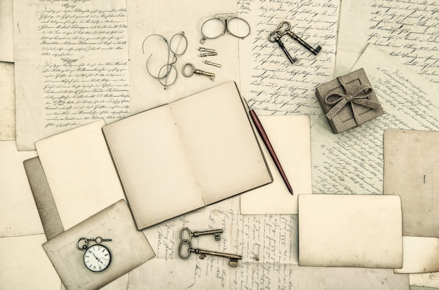 Vintage office accessories, book, handwritten letters
