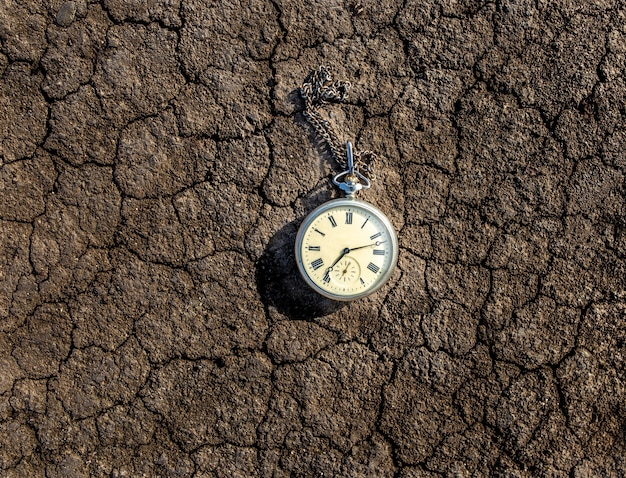 Vintage old pocket watch on the ground