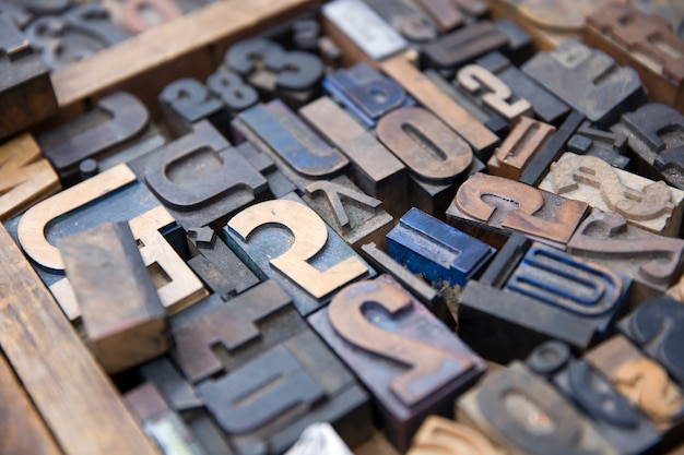 Vintage old printing letters