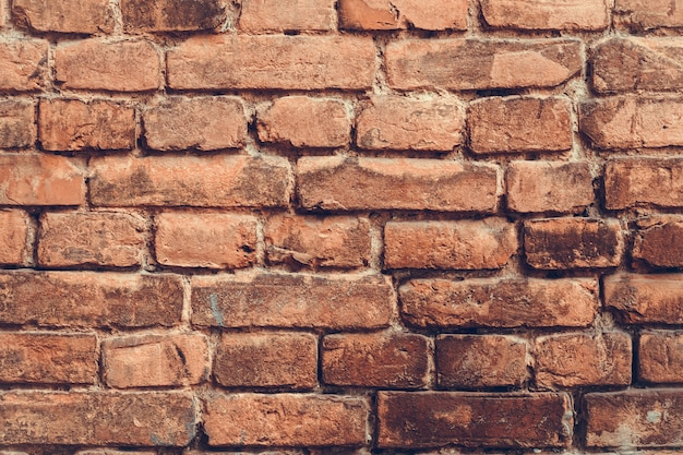 Vintage old red brick wall background, abstract pattern of concrete grunge texture.