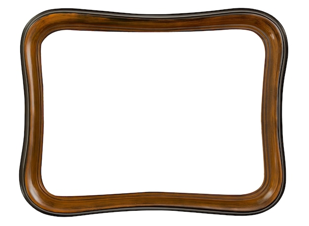 Vintage old retro wooden frame isolated on white background