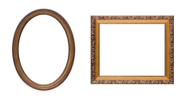 Vintage old retro wooden frames isolated on white.