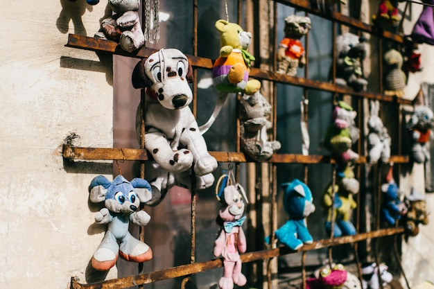 Vintage old toys. unneeded, dumped, abandoned fluffy stuffed toys.