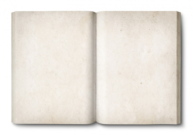 Vintage open book isolated on white