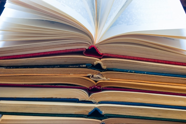 Vintage opened books closeup