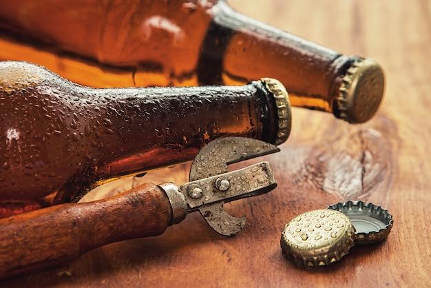 Vintage opener and beer