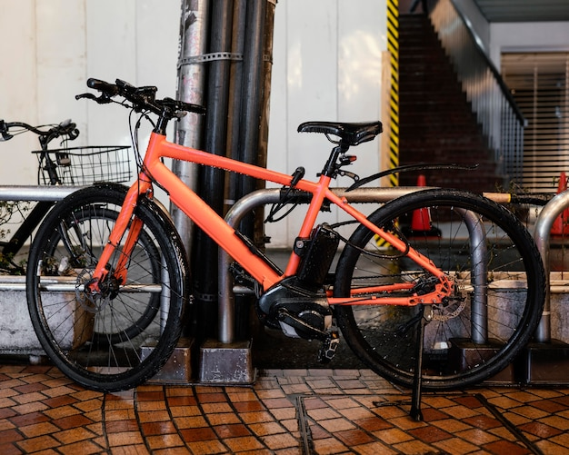 Vintage orange bicycle with black details
