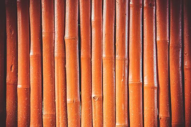 ヴィンテージオレンジ色の木製の中国の竹の壁の背景