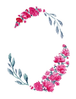 水彩ピンクの牡丹の花と繊細な青い葉を持つヴィンテージの楕円形のフレーム