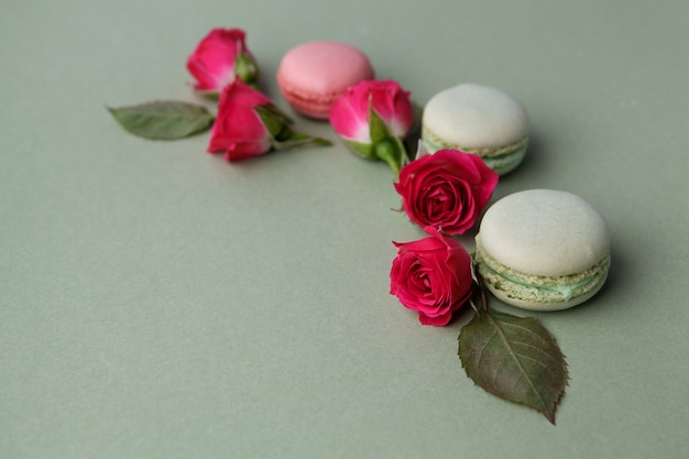 Vintage pastel colored french macarons and roses on green