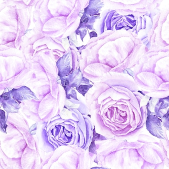 Винтажный узор с фиолетовыми розами цветочные акварельные иллюстрации