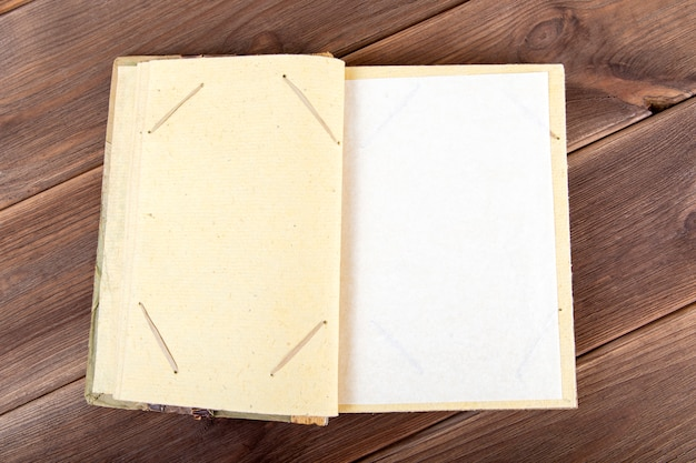 Vintage photo album on wood hand made