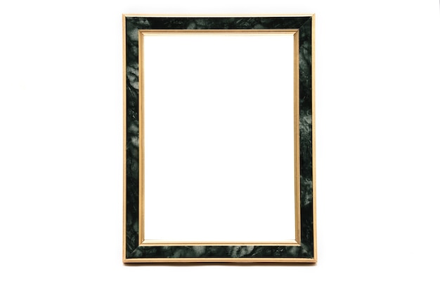 Vintage photo frame with marble effect on an isolated white background.