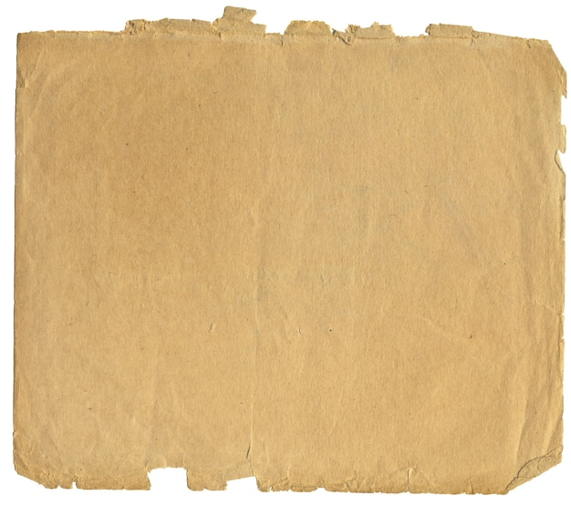 Vintage piece of paper set in isolation on a white background with a path for ps