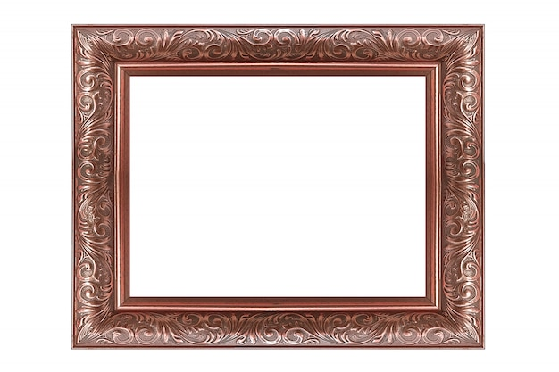 Vintage pink gold picture and photo frame isolated on white background