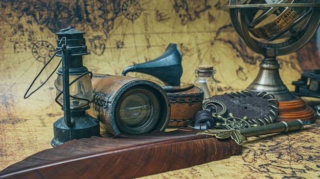 Vintage pirate items on map