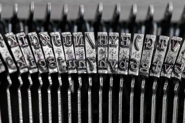 Vintage portable typewriter detail