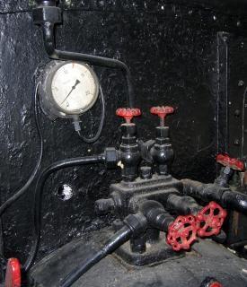 Vintage pressure gauge and valves