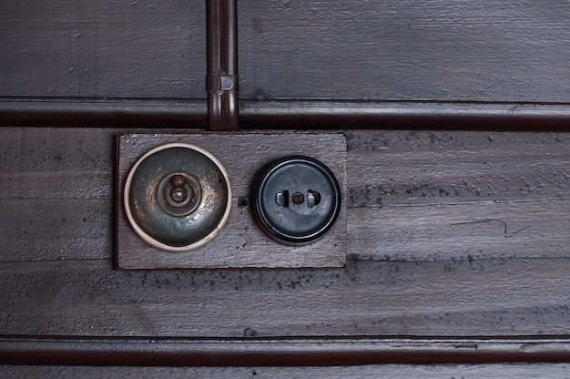 Vintage put light switch on wooden interior wall