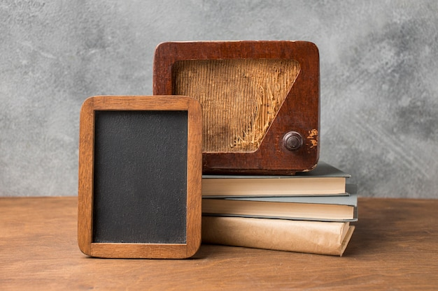 Vintage radio and copy space small blackboard