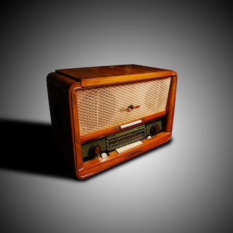Vintage radio on grey background