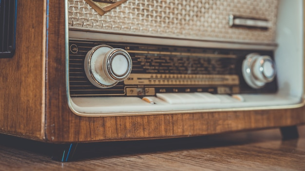 Vintage radio music player panel