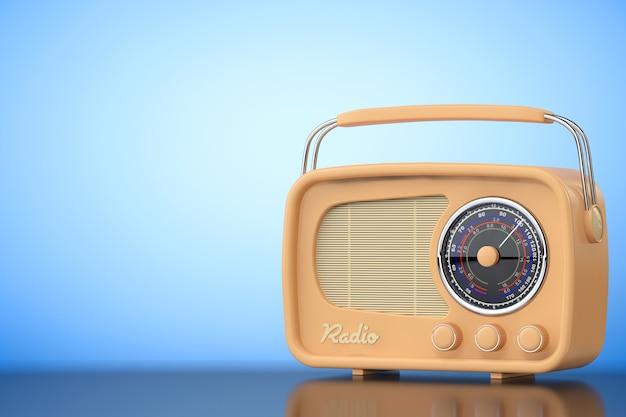 파란색 배경에 빈티지 라디오입니다. 3d 렌더링
