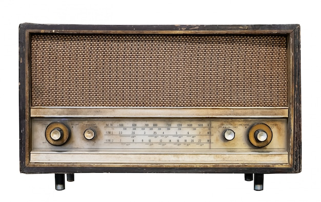 Vintage radio receiver - antique wooden box radio