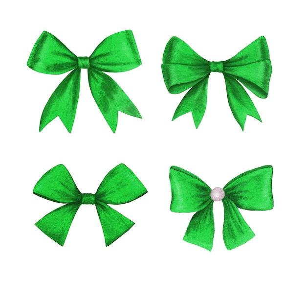 Vintage realistic green bow collection watercolor illustration