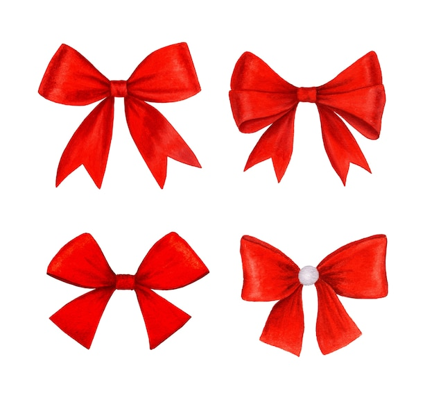Vintage red bow collection realistic watercolor illustration