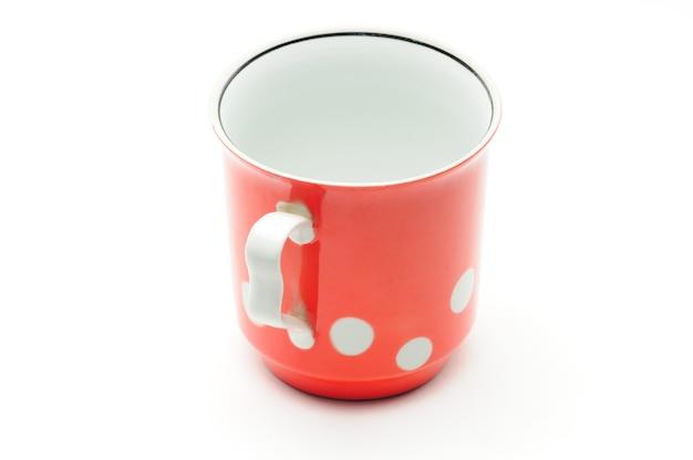 Винтажная красная чашка с белым горошком