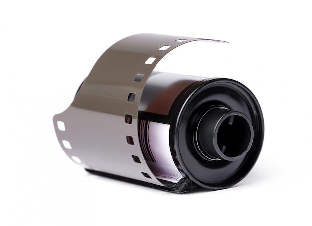 在白色的葡萄酒卷轴相机磁带