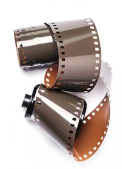 Vintage reel camera tape on white
