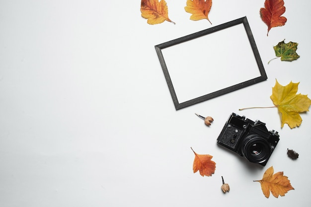 Vintage retro camera and wooden photo frame with autumn fall leaves.