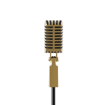 Vintage retro microphone isolated on white gold metal speech device illustration for stand up
