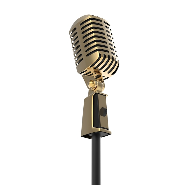 Vintage retro microphone metal speech device for stand up musical performance and corporate