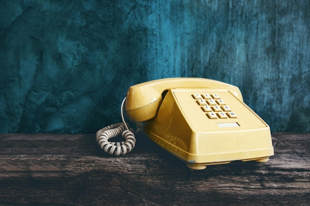 Vintage retro office telephone with push button style
