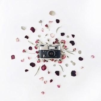 빈티지 레트로 사진 카메라, 빨간 장미와 녹색 잎